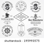 black vector sea badges for any ... | Shutterstock .eps vector #195993575