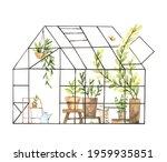 hand drawn watercolor...   Shutterstock . vector #1959935851
