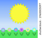 big sun and a field of flowers... | Shutterstock .eps vector #1960005097