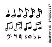 music notes hand drawn vector...   Shutterstock .eps vector #1960021117