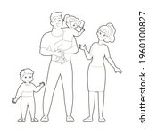 coloring book  dad holding... | Shutterstock .eps vector #1960100827