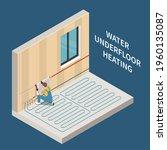 worker installing water... | Shutterstock .eps vector #1960135087
