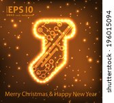 christmas sock in circuit board ... | Shutterstock .eps vector #196015094