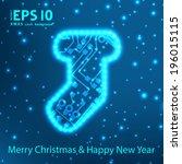 christmas sock in circuit board ... | Shutterstock .eps vector #196015115