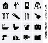 home repair and tools icons | Shutterstock .eps vector #196015925