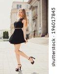 young beautiful girl posing in... | Shutterstock . vector #196017845