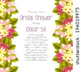 set of invitations with floral... | Shutterstock .eps vector #196019975