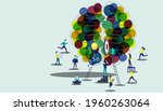businessman team  and lady ... | Shutterstock .eps vector #1960263064