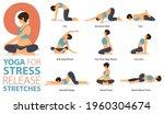 infographic 9 yoga poses for... | Shutterstock .eps vector #1960304674