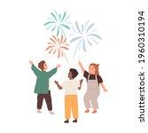 happy children watching festive ... | Shutterstock .eps vector #1960310194