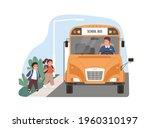 yellow school bus driver... | Shutterstock .eps vector #1960310197