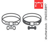 Dog Collar Line And Glyph Icon  ...