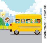 little girl waiting on bus stop ... | Shutterstock .eps vector #196035581