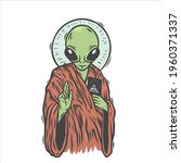 an alien. ufo. can be used as... | Shutterstock .eps vector #1960371337
