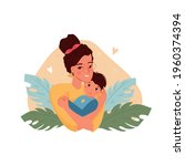 happy mother holding baby son... | Shutterstock .eps vector #1960374394