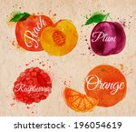 fruit set drawn watercolor... | Shutterstock .eps vector #196054619