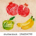 fruit set drawn watercolor... | Shutterstock .eps vector #196054799
