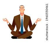 businessman levitates in a yoga ...   Shutterstock .eps vector #1960550461