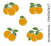 oranges set. collection icons... | Shutterstock .eps vector #1960562617