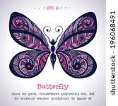 vivid ornamental hand drawn... | Shutterstock .eps vector #196068491
