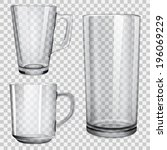 two translucent glass cups and...