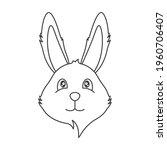 cute smiling bunny face icon. a ...   Shutterstock .eps vector #1960706407