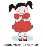 the little girl with pigtails... | Shutterstock .eps vector #196074035