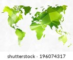 polygon style world map | Shutterstock .eps vector #196074317