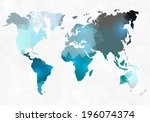 polygon style world map | Shutterstock .eps vector #196074374