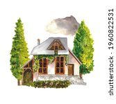 Watercolor Old Cottage House...