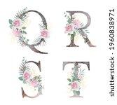 floral alphabet. set letters... | Shutterstock .eps vector #1960838971