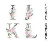 floral alphabet. set letters... | Shutterstock .eps vector #1960838974