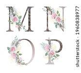 floral alphabet. set letters... | Shutterstock .eps vector #1960838977