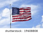 the american flag flapping in a ... | Shutterstock . vector #19608808