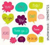 trendy speech bubbles set in... | Shutterstock .eps vector #196090721