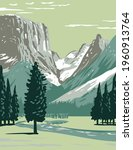 Upper Green River on the western side of Continental Divide in Bridger-Teton National Forest in Wind River Range Wyoming WPA Poster Art