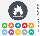 fire flame sign icon. heat... | Shutterstock .eps vector #196091981