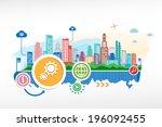 cogwheel and cityscape... | Shutterstock .eps vector #196092455
