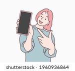 woman showing blank smartphone...   Shutterstock .eps vector #1960936864
