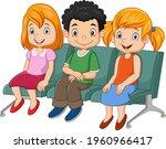 three little kids sitting on...   Shutterstock .eps vector #1960966417