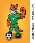 tiger soccer player for soccer... | Shutterstock .eps vector #1961028691