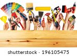 hands with construction tools.... | Shutterstock . vector #196105475