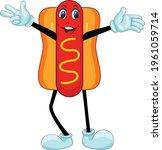 hotdog cartoon with smiling... | Shutterstock .eps vector #1961059714