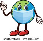 global covid mask cartoon... | Shutterstock .eps vector #1961060524