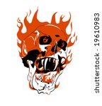 skull on fire. danger.   Shutterstock .eps vector #19610983