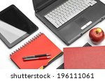 laptop and office supplies on...   Shutterstock . vector #196111061