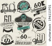 vintage style 60th anniversary... | Shutterstock .eps vector #196111931