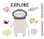 cute bear diving underwater ...   Shutterstock .eps vector #1961125297