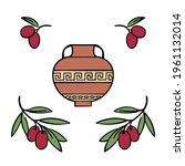 amphora  antique greek vase....   Shutterstock .eps vector #1961132014