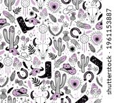 Cowgirl Seamless Vector Pattern....